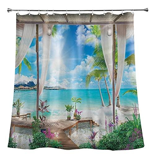 xllLU - Tenda da doccia impermeabile con palme da spiaggia, paesaggio oceano, tenda da bagno, decorazione paesaggio