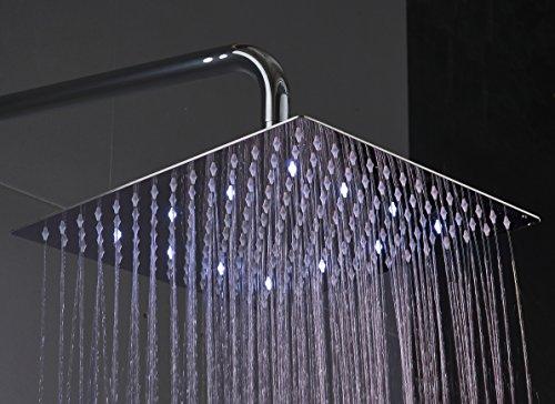 Fyeer LED Duschkopf viereckig 12 Zoll Temperatur Control 3 Farbwechsel Wasser Flow Powered SS304 Chrome Finish für Badezimmer,G1/2 Innere Faden (Quadratische, 12 Zoll)