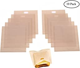 Homezal 10 Pack Non Stick Reusable Toaster Bags, Gluten Free, FDA Approved, Perfect for Sandwiches, Pastries, Pizza Slices, Chicken Nuggets and More