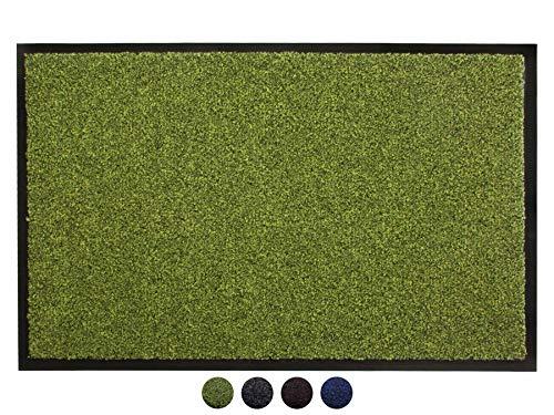Schmutzfangmatte Fußmatte GREEN & CLEAN – 60 x 80 cm, Grün, Türmatte, Sauberlauf Matte, Eingangsmatte Haustür Innen & Außen, Waschbarer, Rutschfester Türvorleger Flor aus Recyceltem Material