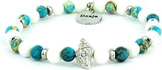 Braccialetto unisex con pietre dure naturali giada bianca e diaspro azzurro con charme centrale conchiglia tema marino bra...