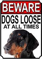 常に犬が緩んでいることに注意してください壁の金属のポスターレトロなプラークの警告ブリキの看板ヴィンテージの鉄の絵画の装飾オフィスの寝室のリビングルームクラブのための面白いハンギングクラフト