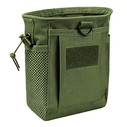 AMYIPO Tactical Hip Holster Bag Outdoor Pouch Molle Drawstring Magazine Dump Pouch, Military Adjustable Belt Utility Pouch (Green)