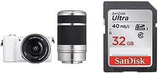 ソニー SONY ミラーレス一眼 α5100 ダブルズームキット E PZ 16-50mm F3.5-5.6 OSS + E 55-210mm F4.5-6.3 OSS ホワイト ILCE-5100Y + SanDisk エコパッケージ サンディスク ウルトラ SDHCカード 32GB Class10 UHS-I 読取り最大40MB/秒 SDSDUNH-032G-GHENN 10年保証