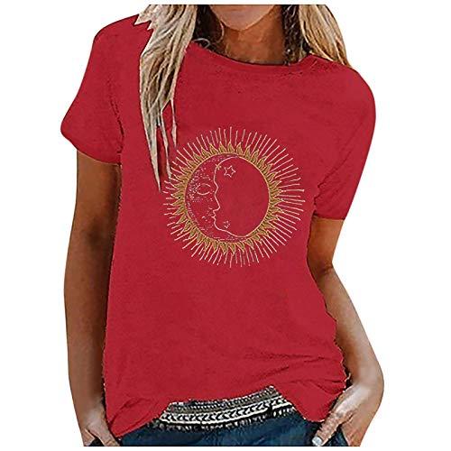 Tomwell Frauen Sommer Y2K Kurzarm Crop Top Glänzend Hot Drill Strass Cosmic Letter T-Shirt Nabel Slim Weste A Rot XL