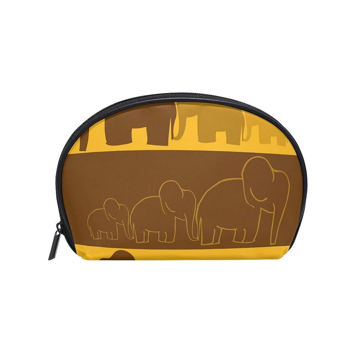 唇最近と半月型 象柄 動物柄 黄色 化粧ポーチ コスメポーチ コスメバッグ メイクポーチ 大容量 旅行 小物入れ