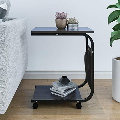 QIHANG-UK End Table on Wheels C Shape Small Coffee Table Mobile Laptop Stand for Sofa Bedside Lamp Table 2-Tier with Storage for Living Room Sofa End Reception Room Office (black walnut)