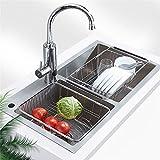 KINLO Geschirrabtropfer Edlstahle Abtropfgestell Einziehbarer Ablaufständer tollen Abtropfablage für Küche Geschirrabtropfkorb für Spüle Küchenarbeitsplatte Seiher Waschkorb Geschirrständer