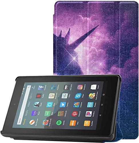Cover Wandkunst Bilder Einhorn Silhouette In Galaxy Nebula Cloud Wandkunst Fur Dekor Fur Feuer 7 Tablet 9 Generation Release 2019 Leicht Mit Auto SchlafWach