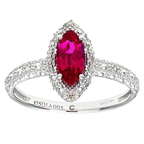 Naava Women's 9 ct White Gold Created Ruby and Diamond Marquise Cluster Ring