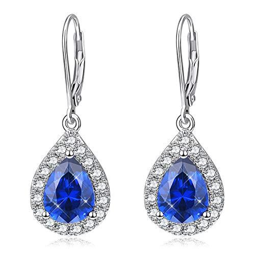 NHGF s925 Collar de Plata esterlina, Collar de circonita Azul, Conjunto de Joyas para Mujer, joyería de Moda(Earring)