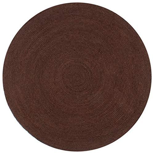 vidaXL Tapis Fait à la Main Jute Rond Moquette Carpette Plancher Coussin de Sol Salon Chambre à Coucher Intérieur Salle de Séjour Maison 150 cm Marron
