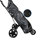 FINGER TEN Golf Bag Cover Rain Hood Protection Rain Cape Deluxe Waterproof, Black Golf Club Bag Cover for Golf Bags Cart Portable Durable fit Almost All Tourbags (1 Pack)
