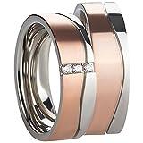 1Paar Partnerringe für Ehe, Verlobung, Heirat oder Freundschaft in Edelstahl mit haltbarer PVD Beschichtung, rosegold und silber Damenring mit 3 gefassten Zirkonia Gravur inklusive