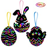 ORIENTAL CHERRY Easter Crafts Kit for Kids - Rainbow Scratch Art (Makes 48 Ornaments) - Bunny Eggs Chicks Decoration for Home Tree Classroom Party