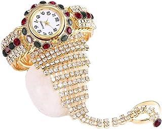 Womens Wrist Watch Crystal Bracelet Set, Ultra Thin Minimalist Watches, Slim Simple Dress White Dial Quartz Wristwatch wit...