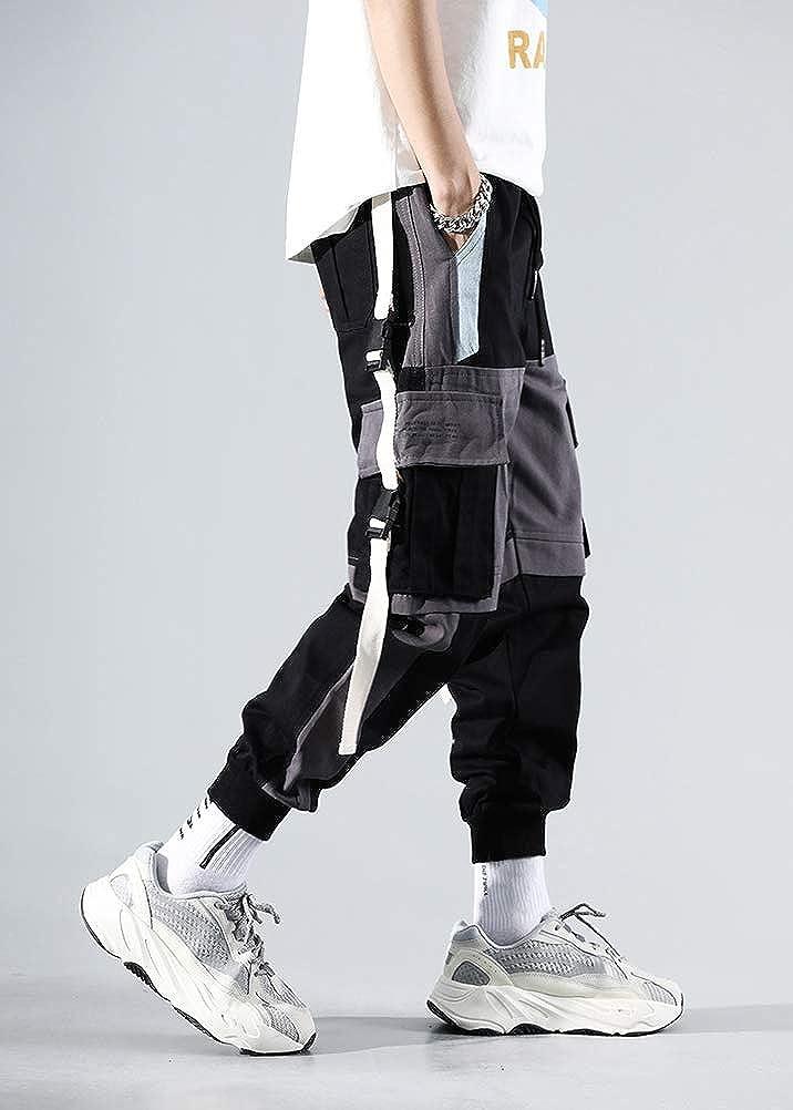 Minetom Homme Pantalon De Jogging Sarouel Pantalon Hip Hop Pantalon De Sport Multi-Poches Streetwear Cargo Joggers Activewear Pantalons