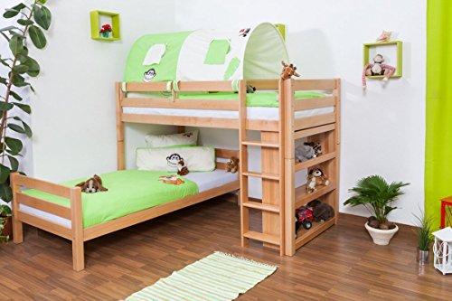 Kinderbett Etagenbett Moritz L Buche Vollholz massiv natur mit Regal, inkl. Rollrost - 90 x 200 cm, teilbar