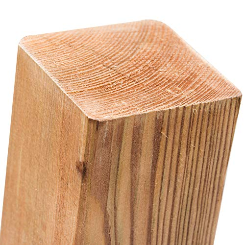 Pali in legno impregnati, in 18misure, in Legno di Pino con testa piatta, colore: marrone, quadrati, per il fissaggio di recinzioni & protezione della privacy, Marrone