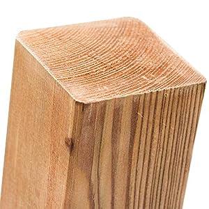 Postes de madera de pino impregnada en 18tamaños con cabezal plano · Postes cuadrados marrones para vallas, Marrón