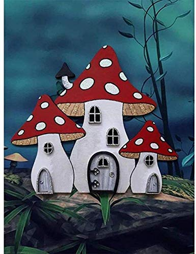MOL 5D DIY Diamond Painting Mushroom Made Cottage Home Decor Cross Ctitch Kit Full Round Drilling Embroidery Arts Craft Send Gifts 50x70cm