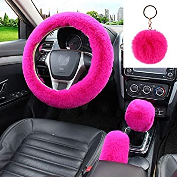 WenMei 4PCS Set Fluffy Steering Wheel Covers with Handbrake Cover&Gear Shift Cover&Plush Keychain Furry Steering Wheel Cover for Women Girl Fashion Warm Car Wheel Protector Fit Most Car  Rose red