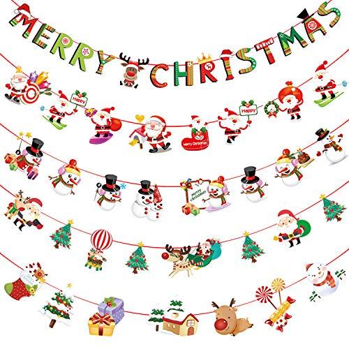 Hywean 5 Stück Weihnachtsgirlande Girlande Weihnachten Deko Christmas Weihnachtsdeko MEHRWEG