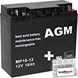 kraftmax 1x AGM 12V / 18Ah Blei-Akku - MP18-12 [ M5 - Bolzen inkl. Schraube und Mutter ] VDs geprüft - inkl. 2X Original Anschluß-Adapter