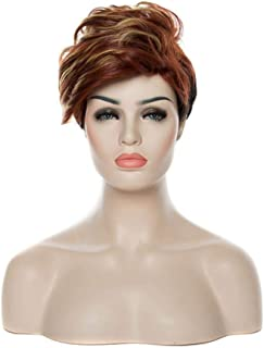 HAIRJOY Woman Synthetic Wigs Natural Black Hair Wig 6 Colors Available,brown blonde,8inches