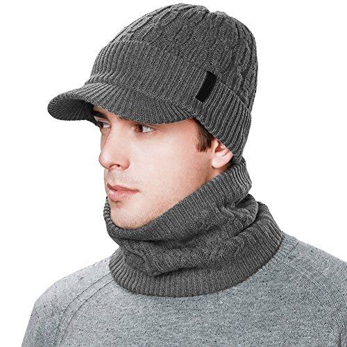Siggi Herren Wolle Knit Visor Beanie Winter Mütze & Schal Sets Fleece Maske Neckwarmer, Ganz bedeckt, Grau, M 26x20x22