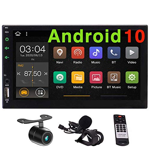 Android 10.0 Double Din Car Stereo GPS Navigation 2 Din Bluetooth in Dash Touch Screen Radio MirrorLink Autoradio Head Unit Audio Video Player USB/SD+ Free Rear Camera Steering Wheel Control