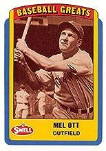 Mel Ott trading card 1990 Swell Baseball Greats #55 W (New York Giants Master Melvin HOF)