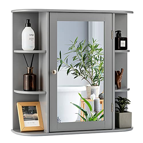 COSTWAY Bathroom Mirror Cabinet, Single Door Wall Mounted Storage Cupboard with Adjustable Shelves, Home Office Living Room Display Organiser Unit (Grey, 65 x 17 x 64cm)