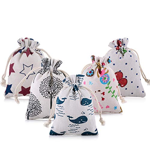 20 saquitos de yute con corazones blancos, de lino, para joyas, corazones, bolsa de tela, bolsa de regalo, bolsa de yute para Navidad, cumpleaños infantiles, bodas, fiestas, manualidades, artesanía