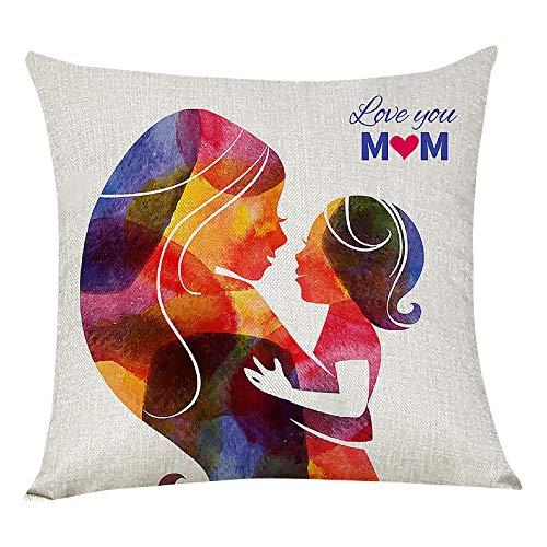 Funda de almohada para el día de la madre, 45,7 x 45,7 cm, cuadradas, fundas de cojín para sofá, decoración del hogar (multicolora)