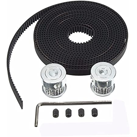 Xsentuals 2 Meter GT2 6 mm Open Timing Belt with 2 Pieces 16 Teeth Pulley 5 mm Bore and Allen Key