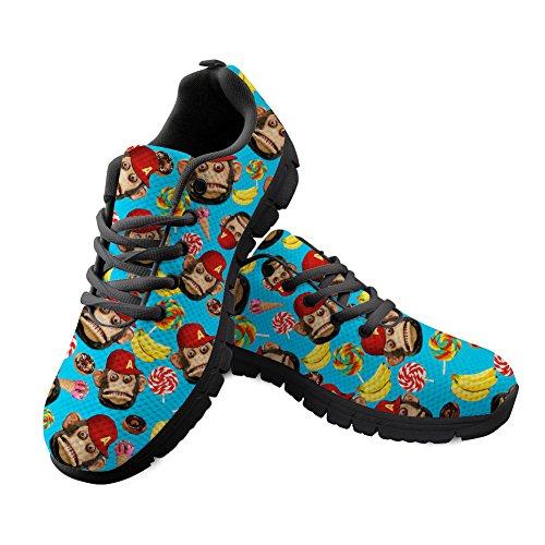 Shinelly heren chimpansen bananen ijscrème patroon sportschoenen loopschoenen sneaker ademende lichte trailloopschoenen