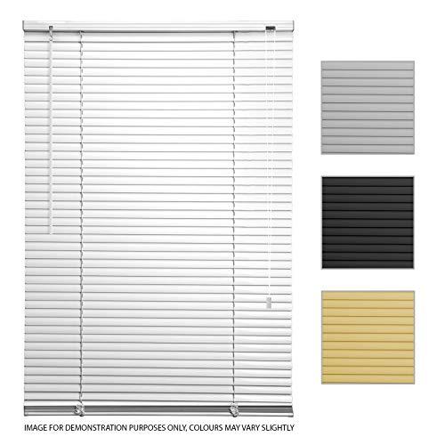 ASAB - Persianas venecianas de PVC para persianas horizontales (135 cm de Ancho, estándar), Color Blanco