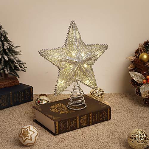 Lewondr Estrella de Punta de Árbol, Estrella Chispeante Brillantes Colgantes Ornamento con Luces Led para...