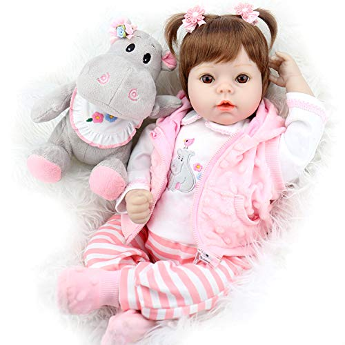 Aori Reborn Baby Doll 22 Inch Realistic Weighted Lifelike Dolls with Pink Clothes and Hippo Toy Accessories