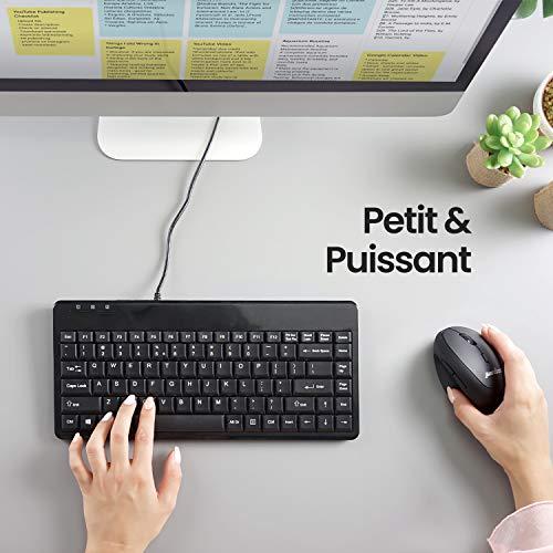 Perixx PERIBOARD-409U Mini-Tastatur mit Kabel für Windows, USB, Schwarz, AZERTY