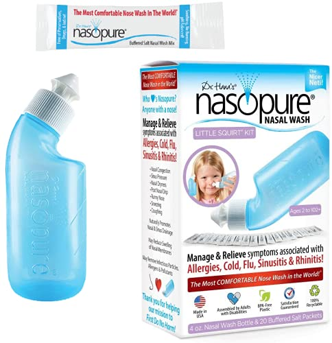"Nasopure Nasal Wash, Little Squirt Kit, ""The Nicer Neti Pot"" Sinus Wash Kit, Comfortable Nasal Rinse 4 Oz Bottle & 20 Salt Packets (3.75 Gr Each), Nasal Congestion, Cold, Allergy, Nasal Irrigation"