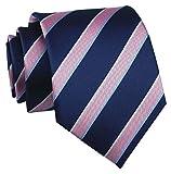 Men's Striped Navy Blue Pink Party Jacquard Woven Tie Eco-friendly Satin Necktie