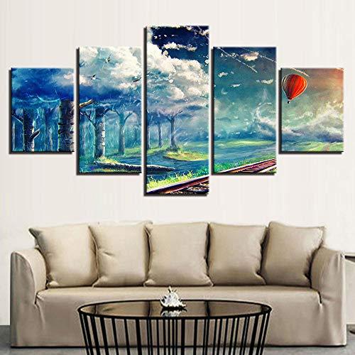 danyangshop 5 Partes póster HD Arte decoración Globo aerostático Cielo árbol centímetros por Segundo de Arte Moderno para Interiores de