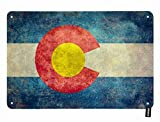 HOSNYE Colorado Flag Tin Sign State of Colorado Flag on Dirty Background Vintage Metal Tin Signs for Men Women Wall Art Decor for Home Bars Clubs Cafes 8x12 Inch