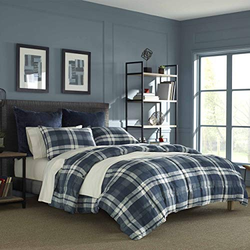 Nautica Home | Crossview Collection | Ultra Soft & Cozy Microsuede Reversible Plaid Quilted Comforter Matching Shams, 3-Piece Bedding Set, Full/Queen, Navy