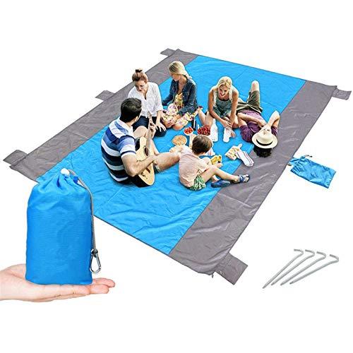 Manta Gran Colchoneta Playa Sin Arena para 4-7 Adultos Manta Picnic Bolsillo Impermeable con 6 Estacas Manta Al Aire Libre, Manta De Picnic (Color : White, Size : 220x180cm)