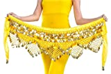 Aivtalk Girls Lady Women Belly Scarf Gold Coins Belly Dance Velvet Triangle Hip Scarf Yellow