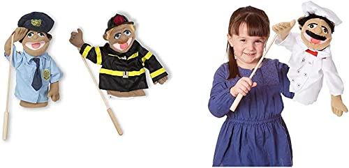 Melissa & Doug Puppet Bundle - Police Officer and Firefighter & Chef Puppet