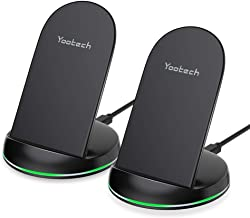 Yootech [2 Pack] Wireless Charger Qi-Certified 10W Max Wireless Charging Stand, Compatible with iPhone 11/11 Pro/11 Pro Max/Xs MAX/XR/XS/X/8, Galaxy Note 10/Note 10 Plus/S10 Plus/S10E(No AC Adapter)